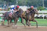 Sippican Harbor (no. 6), ridden by Joel Rosario and trained by Gary Contessa, wins the 127th running of the grade 1 Spinaway Stakes for two year old fillies on September 01, 2018 at Saratoga Race Course in Saratoga Springs, New York. (Rob Simmons/Eclipse Sportswire)