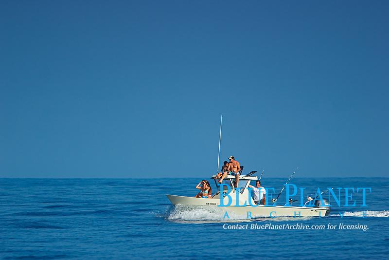 Family fishing boat, off Kona, Big Island, Hawaii, USA, Pacific Ocean