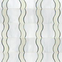 Danube, a waterjet jewel glass mosaic, shown in glass Moonstone, Quartz, Chalcedony.