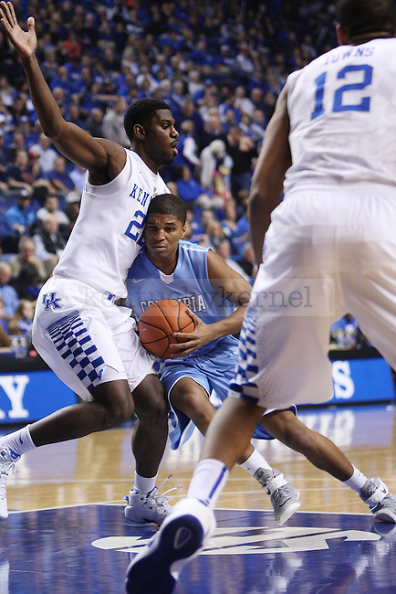 UK forward Alex Poythress blocks Columbia guard Kyle Castlin during UK vs. Coumbia at Rupp Arena in Lexington, Ky., on Friday, December 5,  2014. Photo by Emily Wuetcher | Staff
