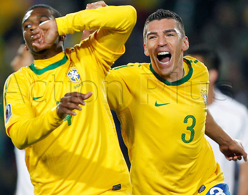 28 06 2010  FIFA World Cup 2010  Country game Brazil vs Chile Picture shows the cheering from Juan and Lucio BRA