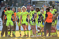 Sale Sharks players watch a replay on the big screen. Aviva Premiership match, between Bath Rugby and Sale Sharks on February 24, 2018 at the Recreation Ground in Bath, England. Photo by: Patrick Khachfe / Onside Images
