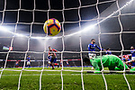 Goalkeeper Iago Herrerin of Athletic de Bilbao (R) fails to save the ball shot by Rodrigo Cascante of Atletico de Madrid during the La Liga 2018-19 match between Atletico de Madrid and Athletic de Bilbao at Wanda Metropolitano, on November 10 2018 in Madrid, Spain. Photo by Diego Gouto / Power Sport Images