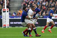2nd February 2020, Stade de France, Paris; France, 6-Nations International rugby union, France versus England;  Charles Ollivon (France) holds up Kyle Sinckler (Eng)