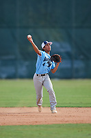 Elijah Olacio during the WWBA World Championship at the Roger Dean Complex on October 19, 2018 in Jupiter, Florida.  Elijah Olacio is a shortstop from Auburn, Massachusetts who attends Marianapolis Preparatory School.  (Mike Janes/Four Seam Images)