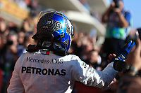 3rd November 2019; Circuit of the Americas, Austin, Texas, United States of America; Formula 1 United States Grand Prix, race day; Mercedes AMG Petronas Motorsport, Valtteri Bottas takes first place in parc ferme - Editorial Use