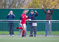 Alex Read of Harlow Town celebrates his opening goal during Harlow Town vs Dulwich Hamlet, Buildbase FA Trophy Football at The Harlow Arena on 11th November 2017
