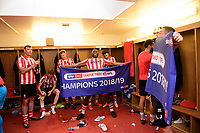 Lincoln City's John Akinde celebrates in the changing room after winning the league<br /> <br /> Photographer Chris Vaughan/CameraSport<br /> <br /> The EFL Sky Bet League Two - Lincoln City v Tranmere Rovers - Monday 22nd April 2019 - Sincil Bank - Lincoln<br /> <br /> World Copyright © 2019 CameraSport. All rights reserved. 43 Linden Ave. Countesthorpe. Leicester. England. LE8 5PG - Tel: +44 (0) 116 277 4147 - admin@camerasport.com - www.camerasport.com