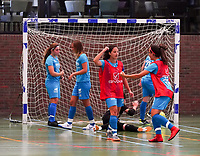 20190915– HALLE , BELGIUM : FP Halle-Gooik Girls B's captain Melinda Nuhiji is pictured celebrating the goal at the Belgian Women's Futsal D1 match between FP Halle-Gooik A and FP Halle-Gooik B on Sunday 15th 2019 at the De Bres Sport Complex in Halle, Belgium. PHOTO SPORTPIX.BE | Sevil Oktem