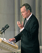 Former United States President George H.W. Bush makes remarks at the State Funeral for former United States President Gerald R. Ford at the Washington National Cathedral, in Washington, D.C. on Tuesday, January 2, 2007..Credit: Ron Sachs / CNP.[NOTE: No New York Metro or other Newspapers within a 75 mile radius of New York City].
