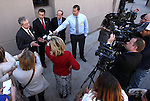 Former Nevada Gov. Robert List, left, Gov. Brian Sandoval and former Gov. Richard Bryan, right, answer media questions following their testimony at a hearing at the Legislative Building in Carson City, Nev., on Wednesday, March 18, 2015.  <br /> Photo by Cathleen Allison