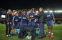 Spurs team are presented with the trophy during the Gwen and Jim Mann Academy Challenge Match Cup between MK Dons U15 & Tottenham Hotspur U15 at stadium:mk, Milton Keynes, England on 26 April 2019. Photo by Andy Rowland.