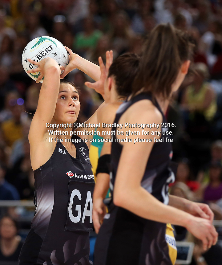 09.10.2016 Silver Ferns Ameliaranne Ekenasio in action during the Silver Ferns v Australia netball test match played at Qudos Bank Arena in Sydney. Mandatory Photo Credit ©Michael Bradley.