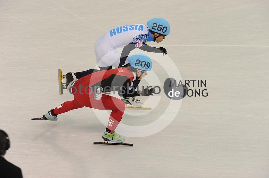OLYMPICS: SOCHI: Iceberg Skating Palace, 13-02-2014, Shorttrack, 5000m Relay Men, Semifinals, Victor An (#250   RUS), Tianyu Han (#209   CHN), ©photo Martin de Jong