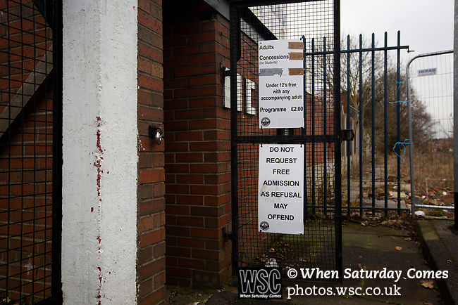 Atherton Collieries 1, Boston United 0, 23/11/19. Alder House, FA Trophy, third qualifying round. Notices at the turnstile entrance before Atherton Collieries played Boston United in the FA Trophy third qualifying round at the Skuna Stadium. The home club were formed in 1916 and having secured three promotions in five season played in the Northern Premier League premier division. This was the furthest they had progressed in the FA Trophy and defeated their rivals from the National League North by 1-0, Mike Brewster scoring a late winner watched by a crowd of 303 spectators. Photo by Colin McPherson.