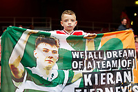 A young Arsenal fan with a banner for injured new signing Kieran Tierney during the Premier League match between Arsenal and Aston Villa at the Emirates Stadium, London, England on 22 September 2019. Photo by Carlton Myrie / PRiME Media Images.