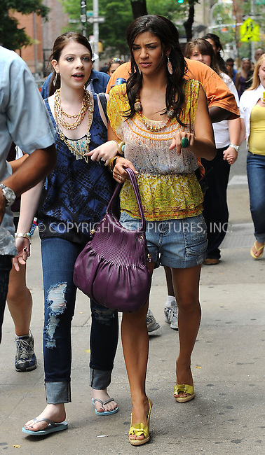 WWW.ACEPIXS.COM . . . . . ....July 20 2009, New York City....Actors Michelle Trachtenberg and Jessica Szohr on the set of the TV show 'Gossip Girl' in Manhattan on July 20 2009 in New York City....Please byline: KRISTIN CALLAHAN - ACEPIXS.COM.. . . . . . ..Ace Pictures, Inc:  ..tel: (212) 243 8787 or (646) 769 0430..e-mail: info@acepixs.com..web: http://www.acepixs.com