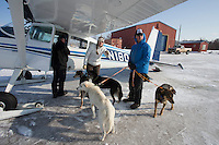Dropped dogs are held by vets Julie Kittams and Vern Ott as they await to be loaded onto Jerry Wortley's plane at the Shageluk checkpoint on Saturday March 9, 2013...Iditarod Sled Dog Race 2013..Photo by Jeff Schultz copyright 2013 DO NOT REPRODUCE WITHOUT PERMISSION