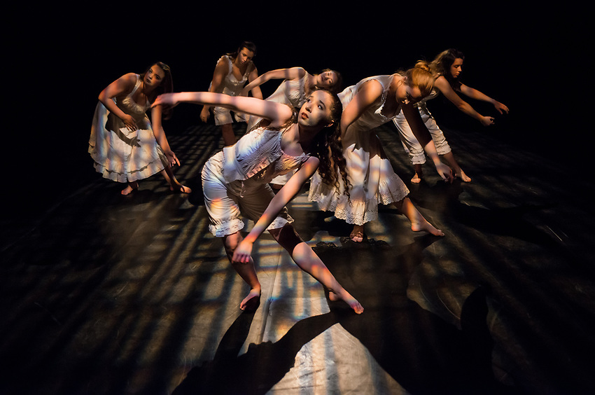 Dance students perform during the dress rehearsal for UAA DANCE in Performance 2017 in the Fine Arts Building's Harper Theater.