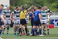 Peter Dooley of Leinster Rugby A (17) is shown a yellow card during the British & Irish Cup Final match between Ealing Trailfinders and Leinster Rugby at Castle Bar, West Ealing, England  on 12 May 2018. Photo by David Horn / PRiME Media Images.