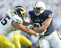 State College, PA - 10/12/2013:  DT Kyle Baublitz attempts to avoid the block of Michigan lineman Michael Schofield.  Penn State defeated Michigan by a score of 43-40 in four overtimes on Saturday, October 12, 2013, at Beaver Stadium.<br /> <br /> Photos by Joe Rokita / JoeRokita.com