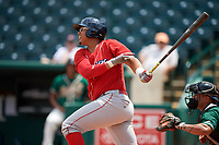 Lakewood BlueClaws right fielder Jhailyn Ortiz (13) at bat during a game against the Greensboro Grasshoppers on June 10, 2018 at First National Bank Field in Greensboro, North Carolina.  Lakewood defeated Greensboro 2-0.  (Mike Janes/Four Seam Images)
