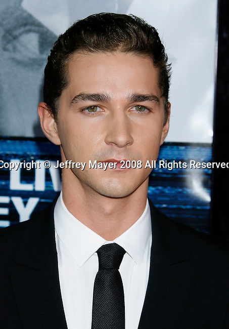 "HOLLYWOOD, CA. - September 16: Actor Shia LaBeouf arrives at the Los Angeles Premiere of ""Eagle Eye"" at the Mann's Grauman Chinese Theatre on September 16, 2008 in Los Angeles, California."