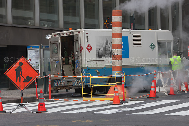Con Edison maintenance and repair site on the street in New York City.