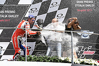 Danilo Petrucci of Italy and OCTO Pramac Racing third during the Moto GP Grand Prix at the Mugello race track on June 4, 2017, and Claudio Dominicali celebrates on the podium.  celebrates on the podium. MotoGP Italy Grand Prix 2017 at Autodromo del Mugello, Florence, Italy on 4th June 2017. <br /> Photo by Danilo D'Auria.<br /> <br /> Danilo D'Auria/UK Sports Pics Ltd/Alterphotos /NortePhoto.com