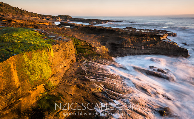 Limestone rocks on Truman Track under sunset in Punakaiki, Paparoa National Park, Buller Region, West Coast, New Zealand
