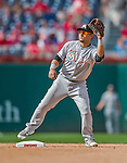 20 September 2015: Miami Marlins infielder Donovan Solano in action against the Washington Nationals at Nationals Park in Washington, DC. The Marlins fell to the Nationals 13-3 in the final game of their 4-game series. Mandatory Credit: Ed Wolfstein Photo *** RAW (NEF) Image File Available ***