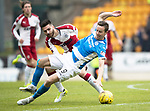 St Johnstone v Rangers&Ouml;21.05.17     SPFL    McDiarmid Park<br /> Steven MacLean is fouled by Jon Toral<br /> Picture by Graeme Hart.<br /> Copyright Perthshire Picture Agency<br /> Tel: 01738 623350  Mobile: 07990 594431