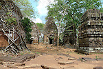 Angkorian temple Prasat Pram at Koh Ker (early 10th century).<br /> Koh Ker temple complex is a remote archaeological site in the jungle of Preah Vihear province in northern Cambodia. Inscriptions found at the site say the name of the ancient town was Chok Gargyar. Briefly in the reign of Jayavarman IV and Harshavarman II (928–944 AD) it was the capital of the Khmer Empire.Koh Ker was also known as Lingapura (City of Lingams), all of the monuments here are dedicated to Hindu deities, mainly Shiva.
