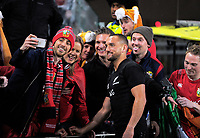Aaron Cruden poses with fans after the 2017 DHL Lions Series rugby union 3rd test match between the NZ All Blacks and British & Irish Lions at Eden Park in Auckland, New Zealand on Saturday, 8 July 2017. Photo: Dave Lintott / lintottphoto.co.nz