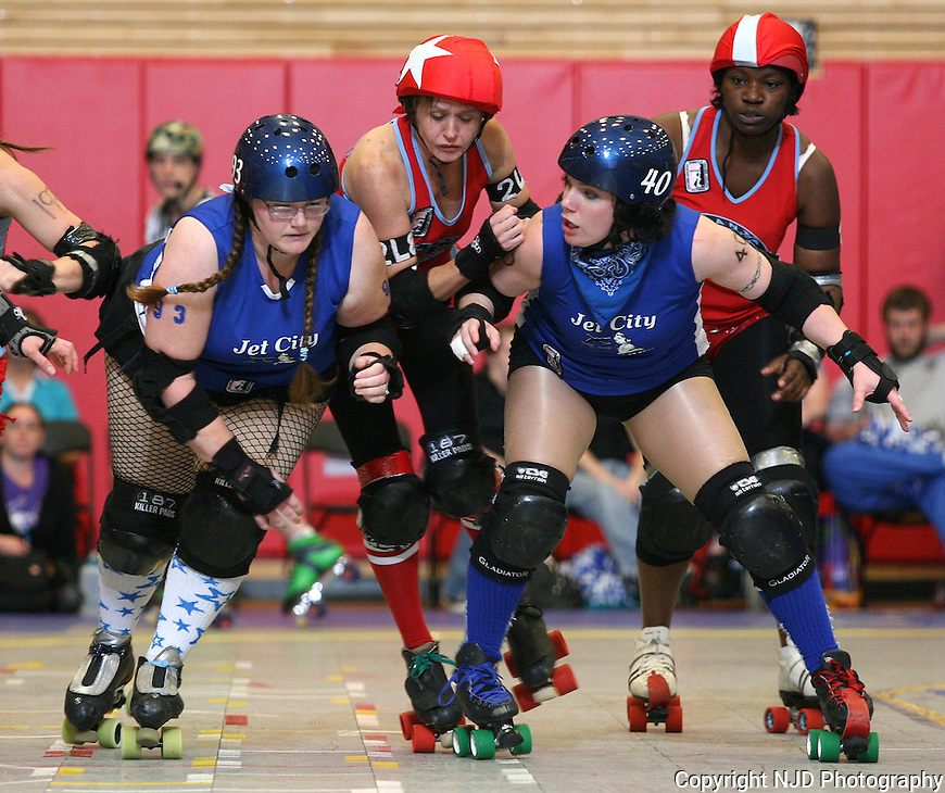 Jet City Roller Girls All-Star weekend at Everett Community College on June 25, 2011. Bout One - B-52s vs Rain of Terror.  Bout Two - Jet City Bombers vs Atlanta.  Photos by Niki Desautels/NJD photography. .(c) 2011