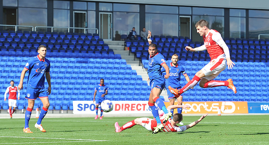 Fleetwood Town's Bobby Grant's shot goes wide of the mark <br /> <br /> Photographer Dave Howarth/CameraSport<br /> <br /> Football - The Football League Sky Bet League One - Oldham Athletic v Fleetwood Town - Saturday 15th August 2015 - SportsDirect.com Park - Oldham<br /> <br /> &copy; CameraSport - 43 Linden Ave. Countesthorpe. Leicester. England. LE8 5PG - Tel: +44 (0) 116 277 4147 - admin@camerasport.com - www.camerasport.com