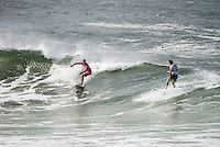 SNAPPER ROCKS, Queensland/Australia (Tuesday, March 12, 2013) Joel Parkinson (AUS) and  Julian Wilson (AUS). -The Quiksilver Pro Gold Coast the opening stop on the 2013 ASP World Championship Tour (WCT), completed Round 5 as well as the Quarterfinals today in clean three-to-four foot (1.5 metre) waves at Snapper Rocks, narrowing the field down to the Final Four and setting up for tomorrow's finish..Joel Parkinson (AUS), 31, reigning ASP World Champion, posted the first Perfect 10 of the event today, mixing it up on the afternoon Snapper Rocks walls with unmatched style, power and versatility in his Quarterfinal bout with Julian Wilson (AUS), 24. The local standout was in sizzling form throughout the bout, posting a number of high scores and collecting the day's high heat total of an 18.27 out of a possible 20...The ASP World No. 1 will take on Michel Bourez (PYF), 27, tomorrow in the opening Semifinal of the event..The Tahitian power broker continued his dream run at the Quiksilver Pro Gold Coast today, eliminating defending event champion Taj Burrow (AUS), 34, in their Quarterfinal bout..Kelly Slater (USA), 41, 11-time ASP World Champion and 2012 ASP World Runner-Up, put in a juggernaut performance in this afternoon's Quarterfinals, posting an excellent 18.03 out of a possible 20 in a momentum-building display against Bede Durbidge (AUS), 30...Slater will face Gold Coast local and two-time ASP World Champion (2007, 2009) Mick Fanning (AUS), 31, in tomorrow's Semifinals..Fanning closed out the day's action with a convincing Quarterfinal win over compatriot Matt Wilkinson (AUS), 24...Photo: joliphotos.com