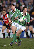 Irish out half Scott Deasy moves play wide during the Division A clash with Scotland in the IRB U19 World Championship at Ravenhill, Belfast. Result 12-13 to Ireland.