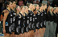 15.09.2018 Silver Ferns during Silver Ferns v England netball test match at Spark Arena in Auckland. Mandatory Photo Credit ©Michael Bradley.