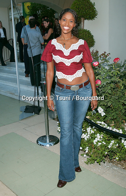 """Merrin Dungey arriving at the party for the """"2002 ABC Summer Press Tour All-Star"""" at the Tournament House in Pasadena, Los Angeles. July 18, 2002."""