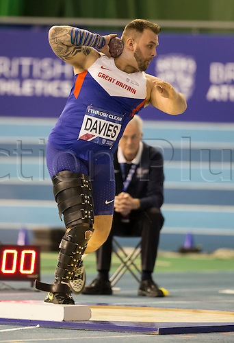 28.02.2016. EIS Sheffield, Sheffield, England. British Indoor Athletics Championships Day Two. Aled Davies (Cardiff) during the Men's Shot Put final.