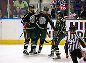 February 24th 2008:  Benoit Pouliot (27) of the Houston Aeros is congratulated by Clayton Stoner (7) and Ryan Hamilton (12) after a goal vs. the Rochester Amerks at Blue Cross Arena at the War Memorial in Rochester, NY.  The Aeros defeated the Amerks 4-0.   Photo copyright Mike Janes Photography 2008