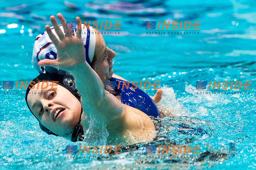 Eindhoven , Netherlands (NED) 16 - 29 January 2012.LEN European  Water Polo Championships 2012.Day 05 - Women.Russia  (White) - Great Britain  (Blue)..RUS.9 TANKEEVA Ekaterina...Photo Insidefoto / Giorgio Scala