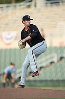 Delmarva Shorebirds relief pitcher Steven Klimek (37) in action against the Kannapolis Intimidators at Kannapolis Intimidators Stadium on July 2, 2017 in Kannapolis, North Carolina.  The Shorebirds defeated the Intimidators 5-4.  (Brian Westerholt/Four Seam Images)