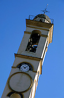 Church bell tower in Corte, Corsica, France.