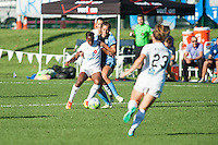 Kansas City, MO - Sunday September 11, 2016: Tiffany McCarty, Sofia Huerta during a regular season National Women's Soccer League (NWSL) match between FC Kansas City and the Chicago Red Stars at Swope Soccer Village.