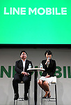 "September 5, 2016, Tokyo, Japan - Japan's SNS giant LINE executive Jun Masuda (L) and LINE Mobile president Ayano Kado introduce LINE's new mobile communication service ""LINE Mobile"" in Tokyo on Monday, September 5, 2016. LINE will start the mobile virtual network operator (MVNO) service using NTT Docomo's network with the minimum charge of 500 yen (5USD) per month.    (Photo by Yoshio Tsunoda/AFLO) LWX -ytd-"