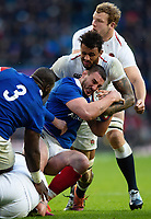Louis Picamoles of France is tackled to ground by Courtney Lawes of England. Guinness Six Nations match between England and France on February 10, 2019 at Twickenham Stadium in London, England. Photo by: Patrick Khachfe / Onside Images