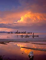 Mono Basin Scenic Area, CA<br /> Evening sky and red cloud reflections among the sandbar patterns at the shoreline near Mono Lake's South Tufa Area