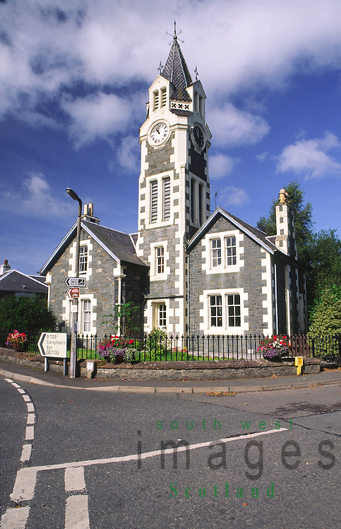 Clock tower in the centre of the sleepy village of Moniaive amoungest the southern uplands of Dumfriesshire Scotland UK